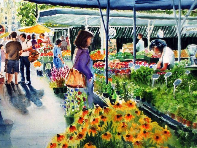 Blumen, Markt, Aquarellmalerei, Menschen, Malerei, Gemüse