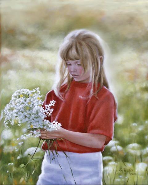 Sommer, Wiese, Kind, Blumen, Malerei, Pflanzen