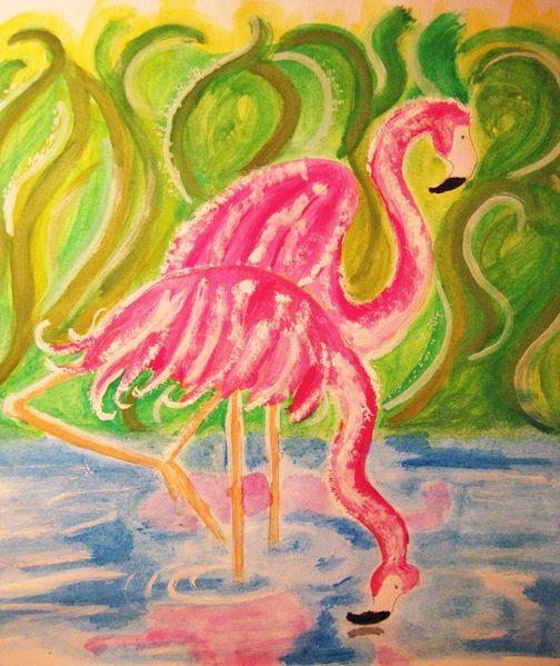Wasser, Flamingo, Kitsch, Urwald, Zeichnungen