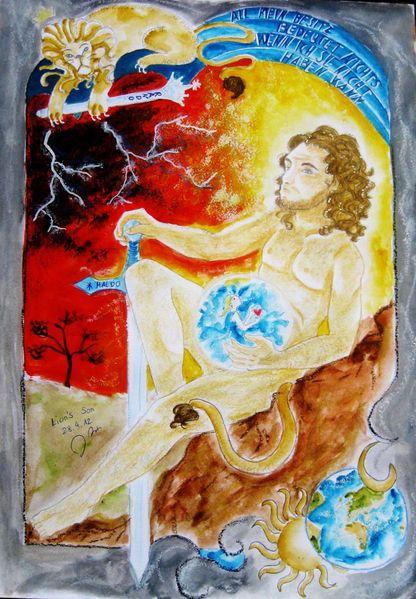 Schöpfung, Löwe, Liebe, Erde, Aquarell, Aquarellmalerei