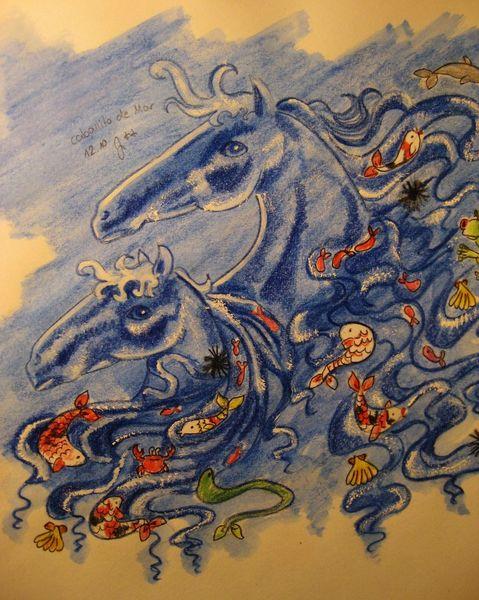 Fische, Meer, Muschel, Seepferdchen, Pferde, Zeichnungen
