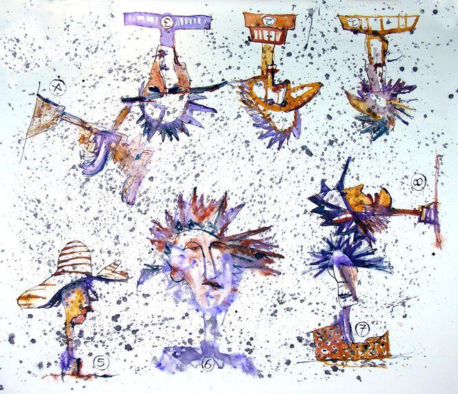 Aquarellmalerei, Kopf, Spritzer, Malerei, Abstrakt, Paris