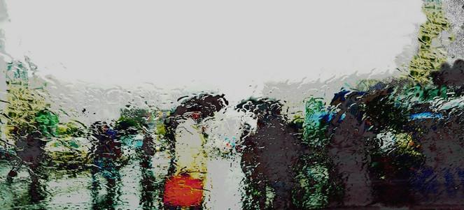 Sauwetter, Bahnhof, Fußgänger, Regen, Digitale kunst