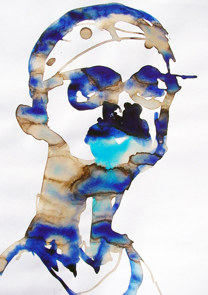 Portrait, Studie, Selbstportrait, Aquarellmalerei, Malerei