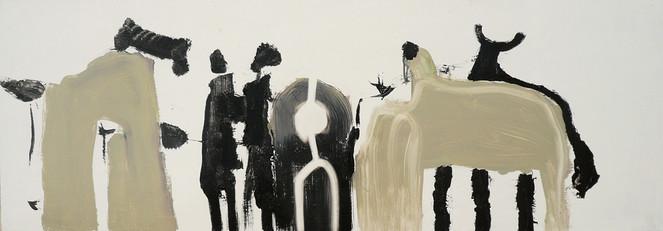 Schwarz, Beige, Malerei