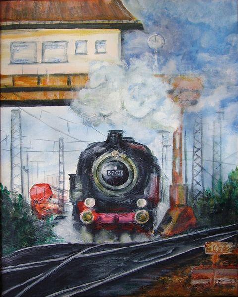 Lokomotive, Eisenbahn, Bahnhof, Dampflok, Stellwerk, Malerei