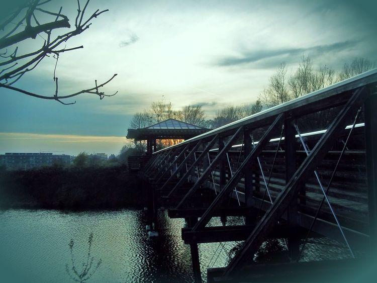 Melancholie, Brücke, See, Dämmerung, Herbst, Fotografie