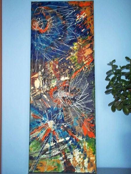 Bunt, Braun, Orange, Blau, Malerei, Malerei abstrakt