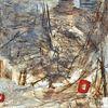 Spachteltechnik, Rot, Acrylmalerei, Abstrakt