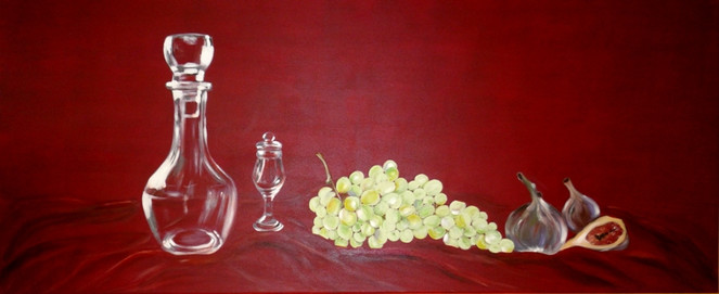 Glas trauben, Flasche, Malerei, In arbeit