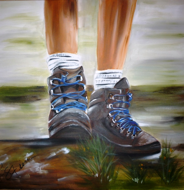 Bild wanderung schuhe malerei stillleben von kunstraum