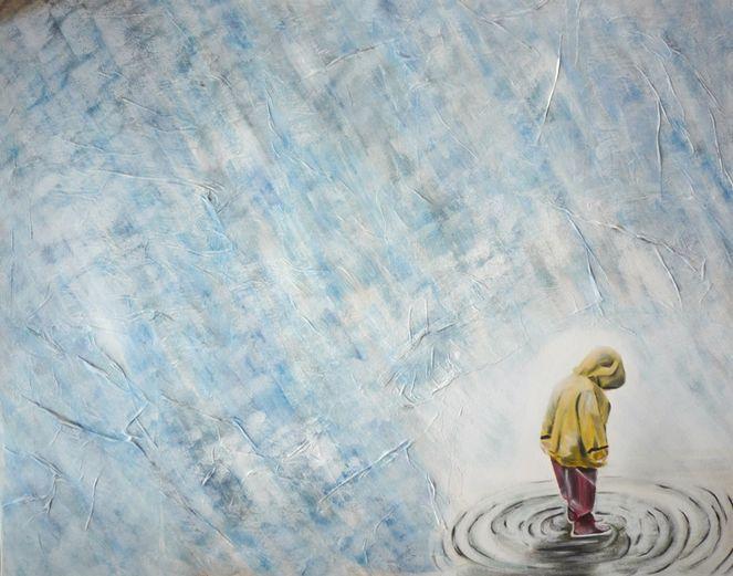 Kind, Pfütze, Regen, Malerei, Menschen