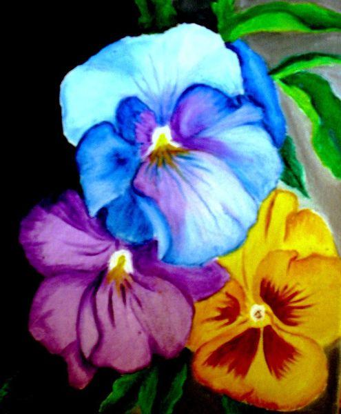 Stiefmütterchen, Naturalismus, Schwiegermütterchen, Bunt frühling, Blumen, Malerei