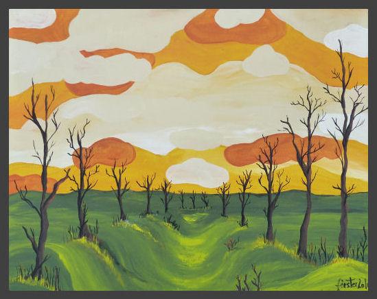 Baum, Landschaft, Acrylmalerei, Pinsel, Wiese, Spachtel