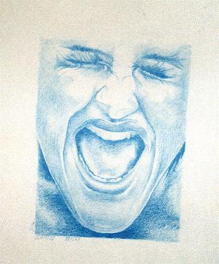 Allein, Verzweiflung, Zeichnungen, Portrait, Schrei