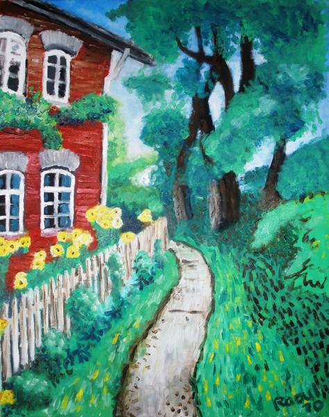 Weg bäume haus, Malerei, Hof
