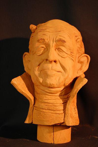 Charakterkopf, Deutsch, Tonfigur, Keramiksculptur, Portrait, Keramik