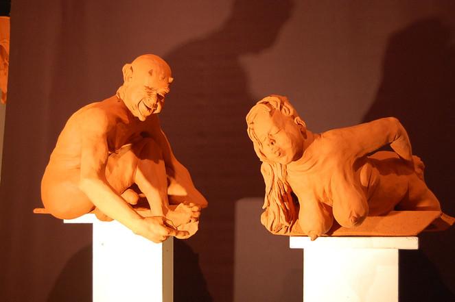 Keramikfigur, Augenzwinkern, Gartenfigur, Dorf, Körper, Mecklenburg