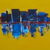 Farben, Skyline, Stadt, Malerei
