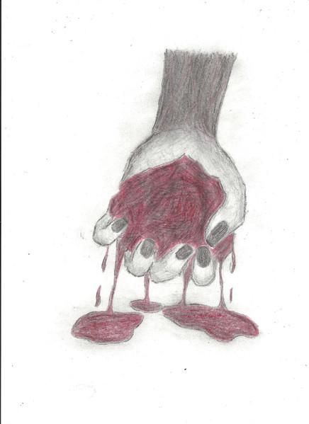 Hand, Herz, Blut, Malerei