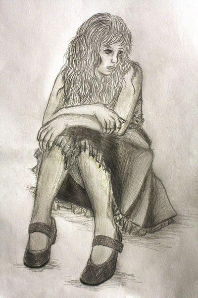Traurig, Einsamkeit, Allein, Tränen, Malerei,