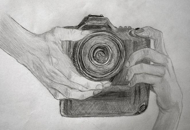 Kamera, Fotografie, Hand, Hände, Zeichnungen