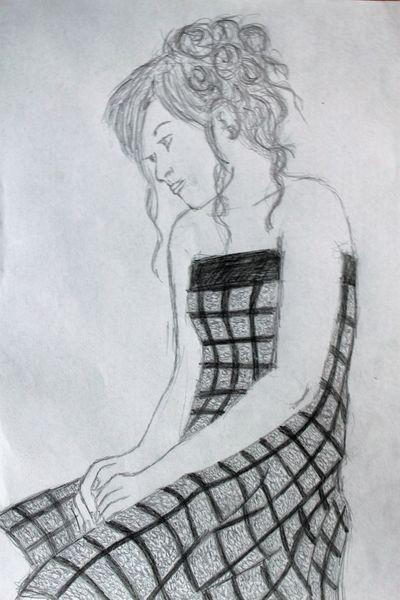Traurig, Allein, Einsamkeit, Zeichnungen, Portrait