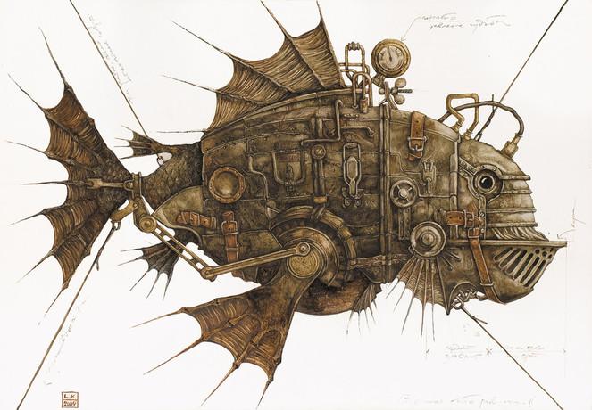Fantasie, Technik, Fisch, Malerei, Tiere, Revolution