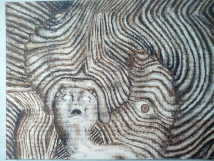 Monster, Streifen, Kopf, Malerei