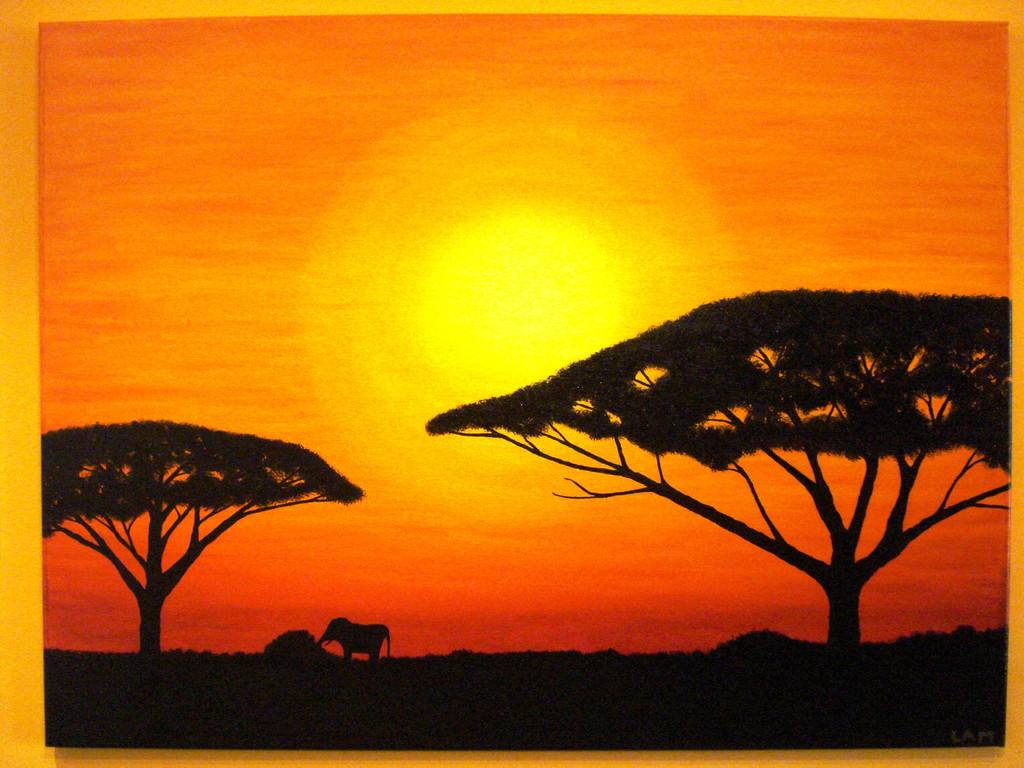 sonnenuntergang in afrika lmalerei malerei sonnenuntergang afrika von andra maria l bei. Black Bedroom Furniture Sets. Home Design Ideas