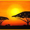 Ölmalerei, Malerei, Afrika, Sonnenuntergang