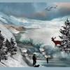 Winter, Hirsch, Bergdolen, Angel
