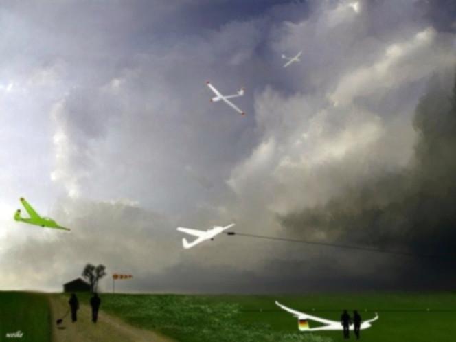 Segelflugzeug, Windsack, Horizont, Start, Menschen, Landung
