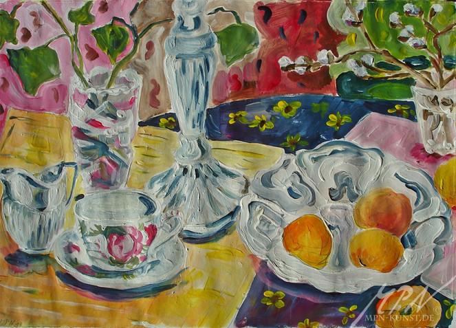 Silber, Früchte, Blumen, Acrylmalerei, Farben, Malerei