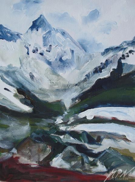 Frühling, Schnee, Berge, Frisch, Tal, Malerei