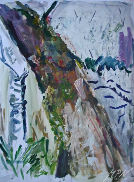 Weide, Moos, Birken, Landschaft, Acrylmalerei, Malerei