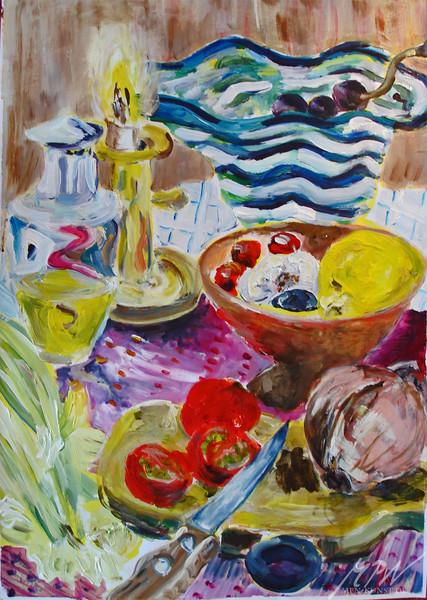 Gemüse, Kerzenständer, Tisch, Kerzen, Dekoration, Stillleben