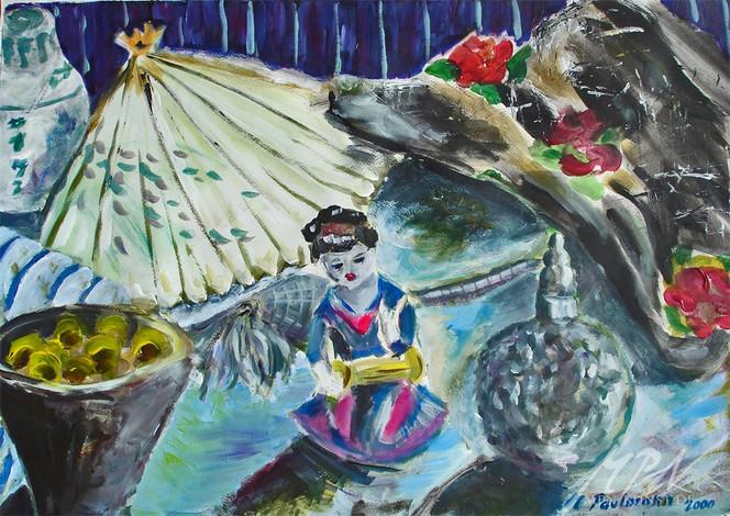 Japanisch, Acrylmalerei, Figur, Stillleben, Malerei