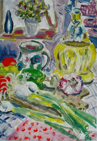 Gemüse, Gefäß, Farben, Frische, Acrylmalerei, Malerei