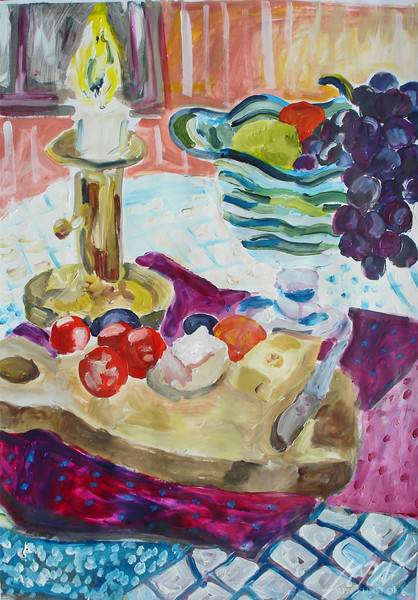 Kerzenlicht, Glasschale, Stillleben, Acrylmalerei, Obst, Malerei