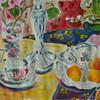 Silber, Früchte, Blumen, Acrylmalerei