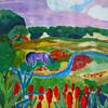 Traumlandschaft, Himmel, Acrylmalerei, Blaues pferd