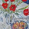Blumen, Früchte, Silber, Acrylmalerei