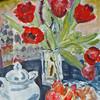Acrylmalerei, Porzellan, Farben, Tulpen