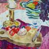 Acrylmalerei, Obst, Kerzenlicht, Glasschale