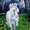 Wiese, Schimmel, Pony, Landschaft