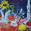 Farben, Sonnenblumen, Rosenblüte, Acrylmalerei