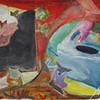 Acrylmalerei, Farben, Efeublätter, Geometrische elemente