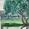 Wiese, Landschaft, Teich, Acrylmalerei