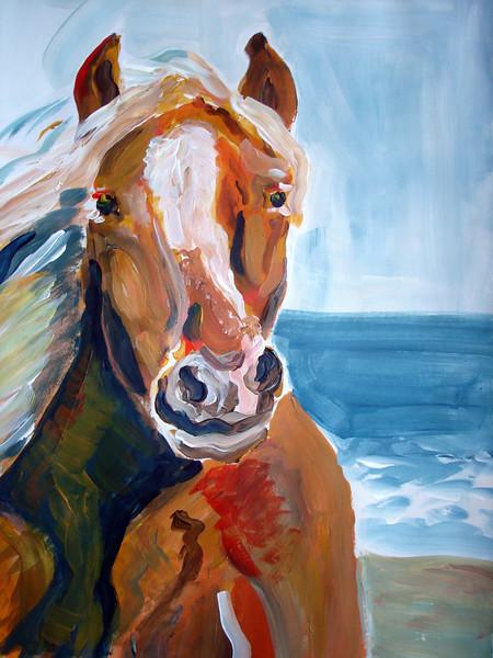 Meer, Strand, Hengst, Urlaub, Pferde, Acrylmalerei